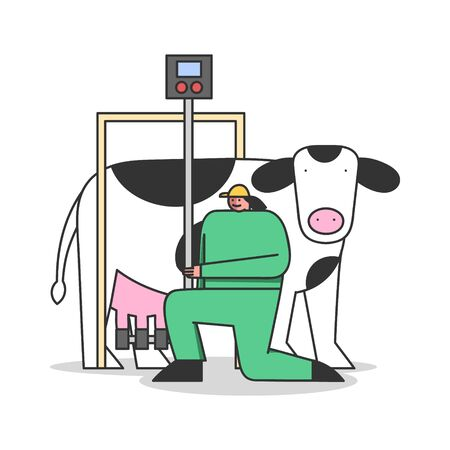 Concept Of Dairy Production. Woman In Uniform Connecting Milking Machine To Cow, Control The Process Of Milking
