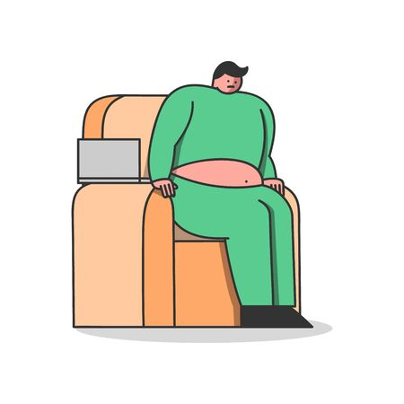 Lazy man with overweight raising from armchair. Weight loss, heart diseases and unhealthy lifestyle concept. Fat male cartoon character working from home. Flat vector illustration Illustration