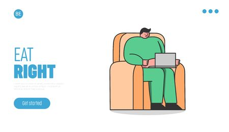 Nutrition and dieting landing page with fat man using laptop sitting in armchair Illustration
