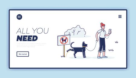 Clean after your dog banner. Template landing page with cartoon woman ignore picking waste rule