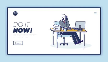 Exhausted worker at workplace concept. Template landing page with skeleton business man