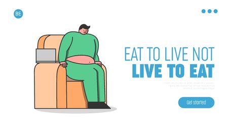 Landing page for fitness and dieting website. Cartoon man fat and overweight