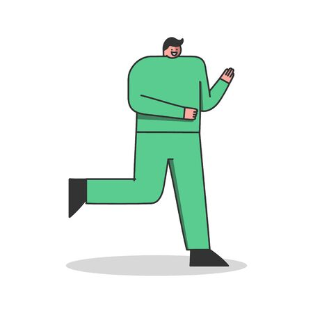Man runner exercises. Male jogging workout. Fit and healthy cartoon character