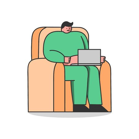 Fat man with laptop sitting in armchair. Overweight male character working from home