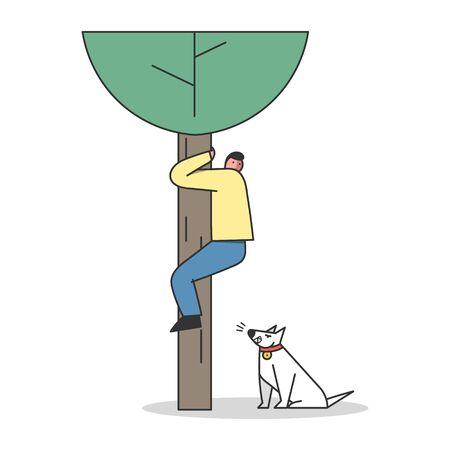 Scared man saving from dog attack climbing tree. Aggressive watchdog barking on human