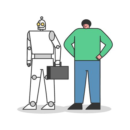 Human vs robot workers. Professional standing with robotic competitor. Career and artificial intelligence concept. Human and robots resources. Cartoon flat vector illustration