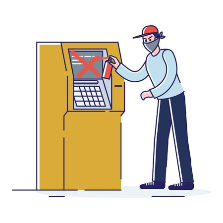 Man in mask painting on atm machine. Street vandal and vandalism concept