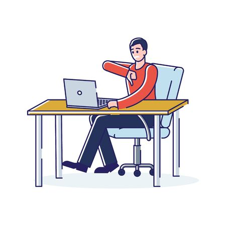 Man showing thumb down dislike gesture while using laptop computer. Unsatisfied user or client concept. Cartoon customer with disapproval sign. Linear vector illustration