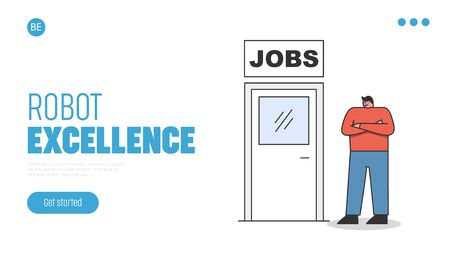 Landing page for new job concept. Employee standing at door to new career or promotion 向量圖像