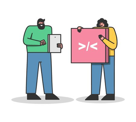 Team of web designers coding new website or application project. Cartoons hold programming symbols