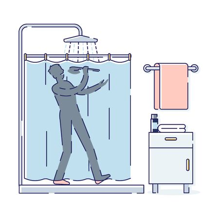 Silhouette man sing while taking shower. Relaxed and happy male enjoy bathing