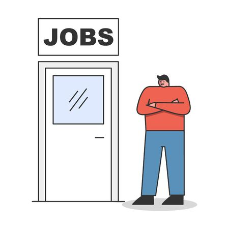 New job concept. Man standing near door to new career or promotion