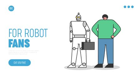 Human and robot worker. Office ai landing page design. Professional with robotic competitor 向量圖像