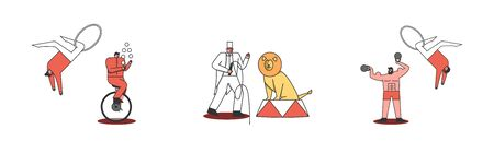 Circus characters set. Juggler, acrobat, strongman and tamer with lion on white background 向量圖像