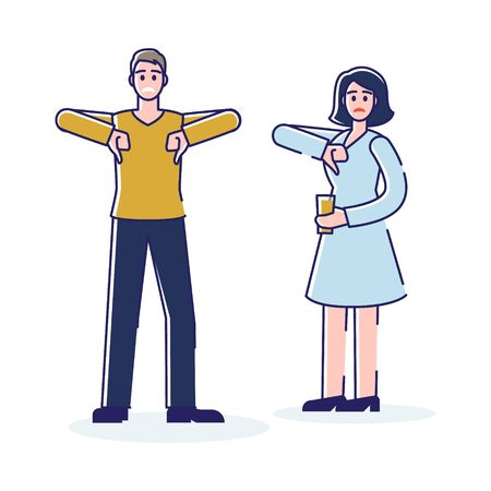 Man and woman with dislike signs showing thumbs down gesture. Bad customer evaluation