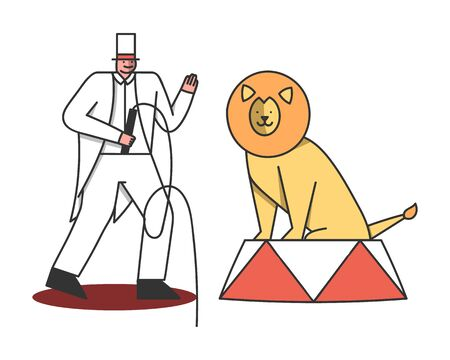 Circus lion with tamer man. Trainer train wild cat with whip for performance