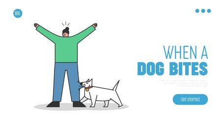 Landing page with mad dog biting woman. Aggressive watchdog attacking human