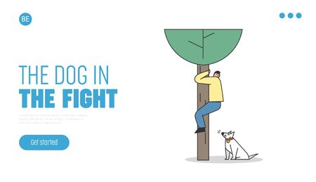 Scared man saving from dog attack on tree. Landing page template with aggressive watchdog barking 向量圖像