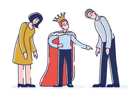 Spoiled child with tired parents. Egoist son wearing crown screaming at mother and father