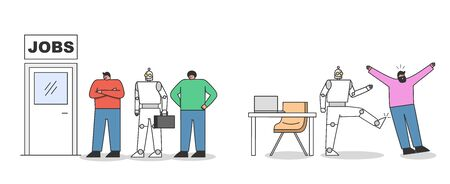 Human employee vs robots. Artificial intelligence and automation on workplace concept