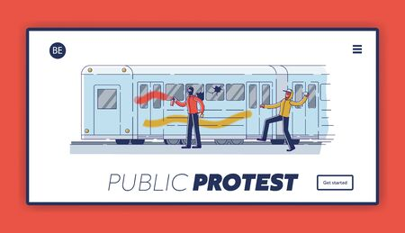 Public protest landing page with vandals damaging subway train. Street vandalism concept 矢量图像