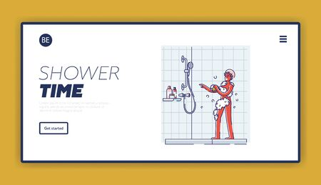 Shower time landing page design with happy african american man take shower singing and dancing 向量圖像