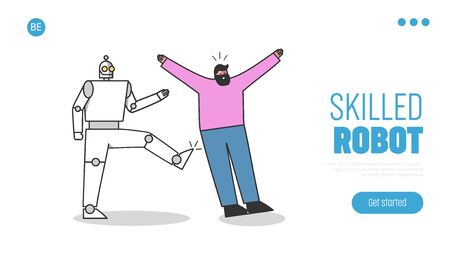 Robotic worker kicks human professional. People against robots at work landing page concept