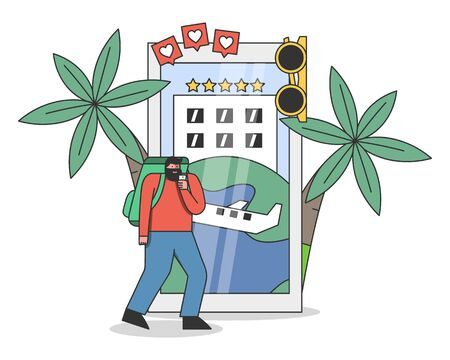 Traveler man standing in front of smartphone with travel booking, reservation or planning app interface 向量圖像