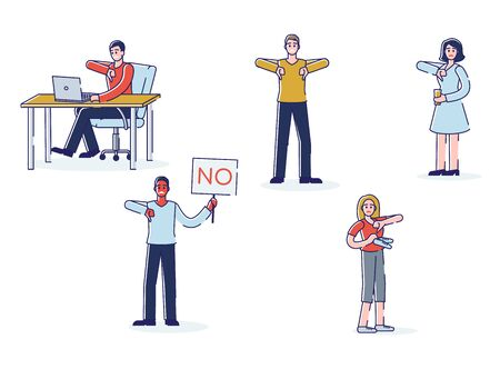 People showing disapproval. Set of cartoon characters showing thumbs down and negative feedback 向量圖像
