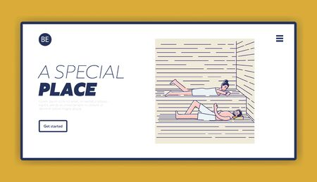 Couple bathing in sauna or banya. Spa resort landing page with cartoon man and woman relax in spa