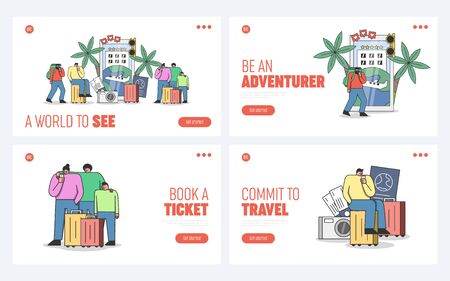 Travel website landing pages set with travelers using booking apps on smartphones