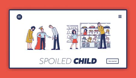 Spoiled child landing page for website. Kids bad manner and tired parents concept