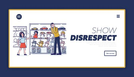 Spoiled kid and disrespect to parents. Landing page with naughty daughter make scene in retail store