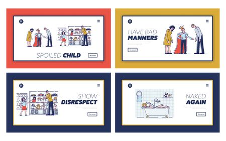 Spoiled kids, bad manners and disrespect to parents set of landing page templates 向量圖像