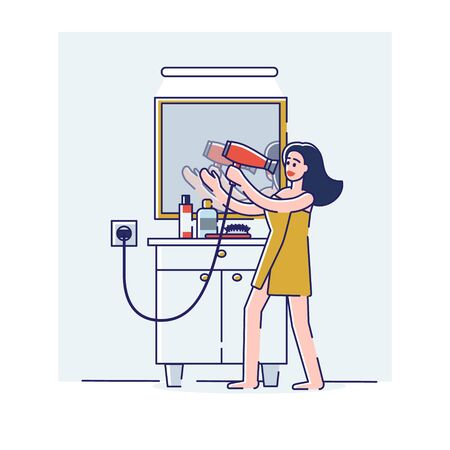 Woman singing in hair dryer. Happy cartoon girl in towel positive and cheerful after having bath 向量圖像