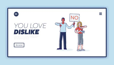People with NO signboard and thumbs down. Negative feedback or social protest landing page design