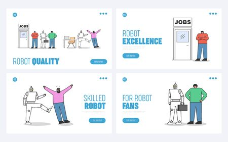 Human vs robots set of landing pages. Robotic automation in office concept 向量圖像