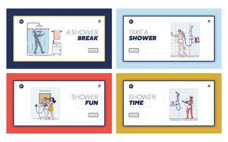 Set of landing pages templates with happy people singing in bathroom. Cartoons taking shower or bath