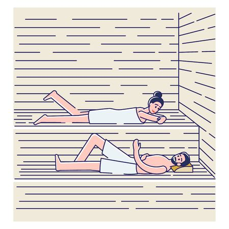 Couple bathing in sauna or banya. Happy man and woman in towels relaxing in spa 向量圖像