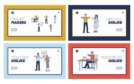 Set of landing pages with people showing disapproval. Cartoon characters showing thumbs down