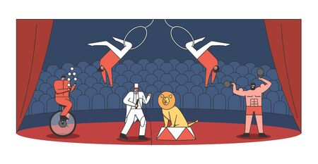 Circus arena and performers show. Juggler, tamer with lion, strongman and acrobat making show