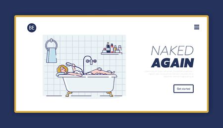 Home relaxation landing page with woman taking bath and sing in shower tube