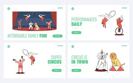 Set of circus landing pages template. Welcome to circus carnival event concept