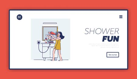 Shower fun landing page design. Happy cartoon woman singing in hair dryer after having bath