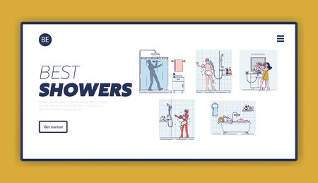 Landing page with set of people singing in bathroom. Happy relaxed cartoons taking shower or bath
