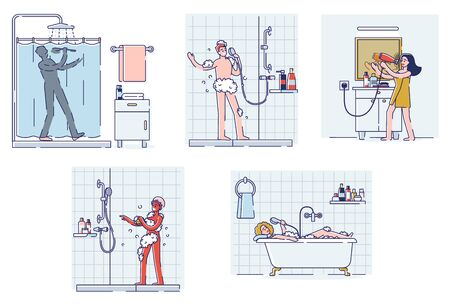 Set of people singing in bathroom. Happy cartoon characters taking shower or bath and sing relaxed