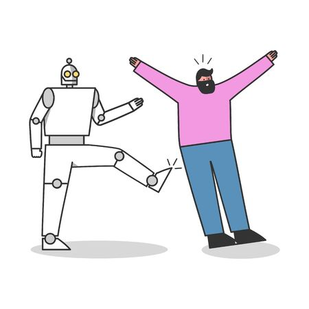 Robotic worker kicks human professional. People against robots competition concept 向量圖像