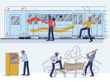 Conjunto de vándalos que dañan la propiedad pública. Personajes en máscaras que dañan el vagón del metro, el parque y el cajero automático Ilustración de vector