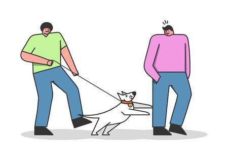 Dog attack man during walk with owner. Cartoon canine on leash barking and biting human