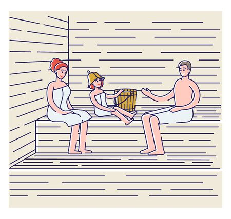 Family bathing in sauna or banya. Parents with kid in towels relaxing in spa
